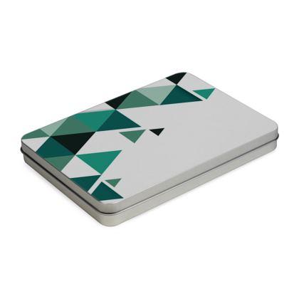 Pencil Case Box - Geometric Triangles Jade