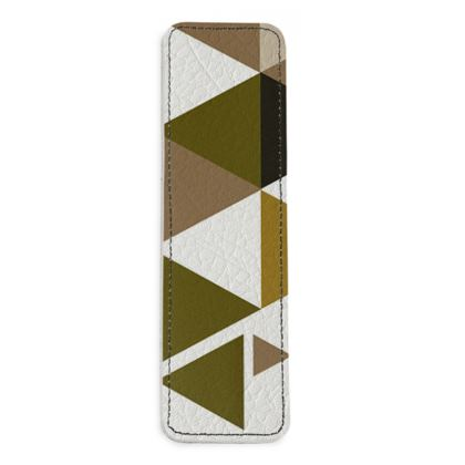 Leather Bookmarks - Geometric Triangles Orange