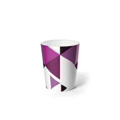 Waste Paper Bin - Geometric Triangles Pink