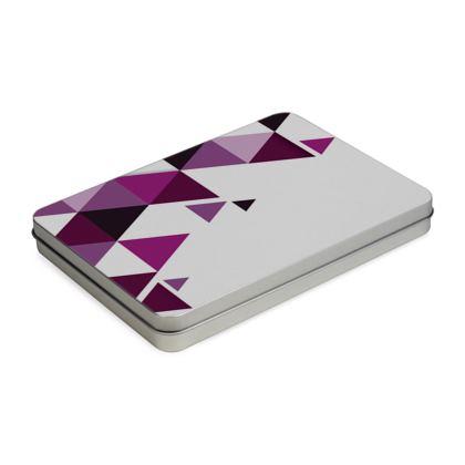 Pencil Case Box - Geometric Triangles Pink