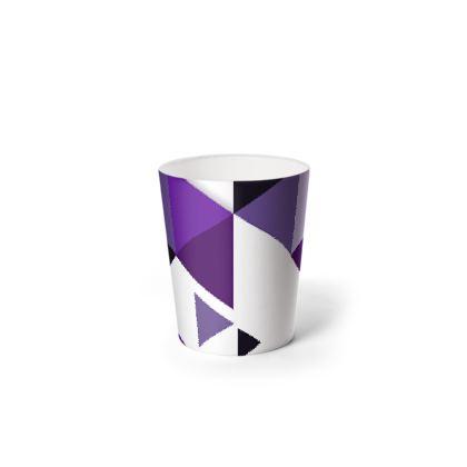 Waste Paper Bin - Geometric Triangles Purple
