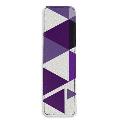 Leather Bookmarks - Geometric Triangles Purple