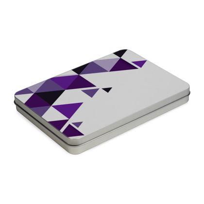 Pencil Case Box - Geometric Triangles Purple