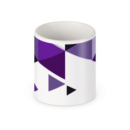 Pen Pot - Geometric Triangles Purple