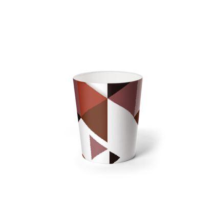 Waste Paper Bin - Geometric Triangles Red