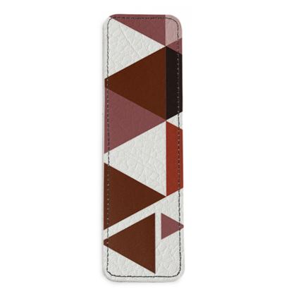 Leather Bookmarks - Geometric Triangles Red