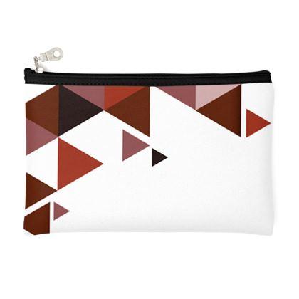 Pencil Case - Geometric Triangles Red
