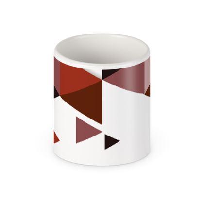 Pen Pot - Geometric Triangles Red
