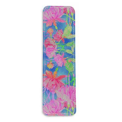 Leather Bookmarks Blue, Pink  Fuchsias  Magic