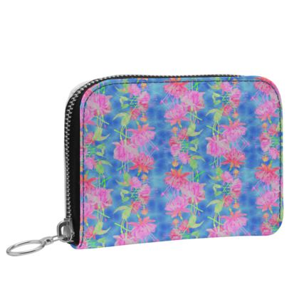Small Leather Zip Purse Blue, Pink, Floral  Fuchsias  Magic
