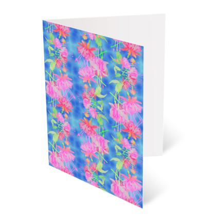 Occasions Cards Blue, Pink Floral  Fuchsias  Magic