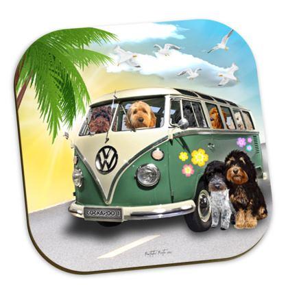 COCKAPOOS ON TOUR VW COASTERS