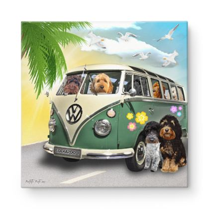 Cockapoos on tour Canvas print 16inch x 16inch