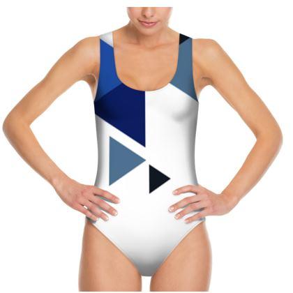 Swimsuit - Geometric Triangles Blue