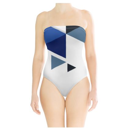 Strapless Swimsuit - Geometric Triangles Blue