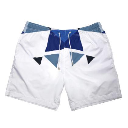 Mens Swimming Shorts - Geometric Triangles Blue