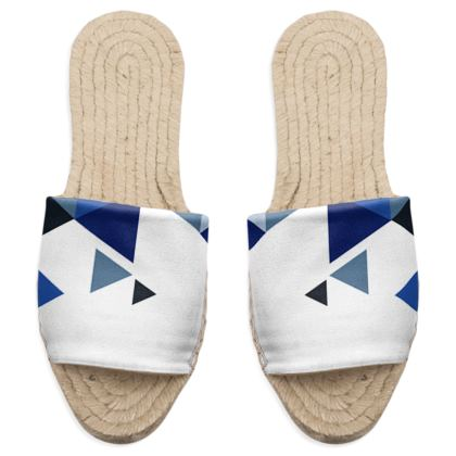 Sandal Espadrilles - Geometric Triangles Blue