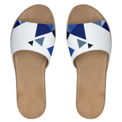 Womens Leather Sliders - Geometric Triangles Blue