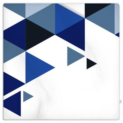 Picnic Blanket - Geometric Triangles Blue