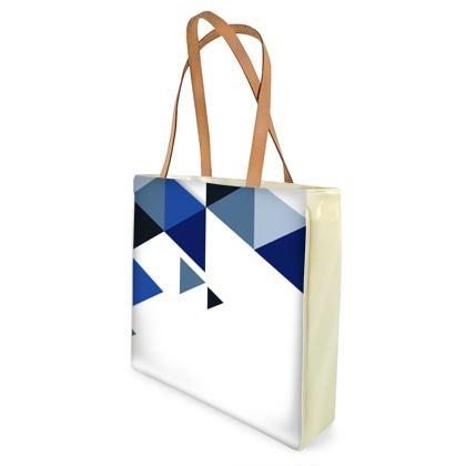 Beach Bag - Geometric Triangles Blue
