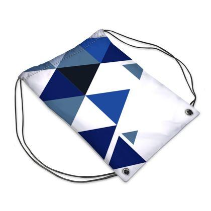 Swim Bag - Geometric Triangles Blue