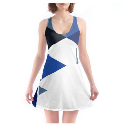 Beach Dress - Geometric Triangles Blue