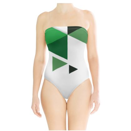 Strapless Swimsuit - Geometric Triangles Green