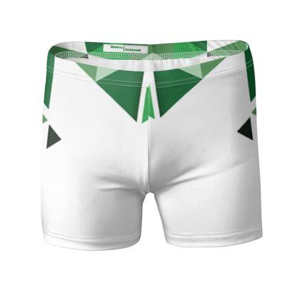 Swimming Trunks - Geometric Triangles Green