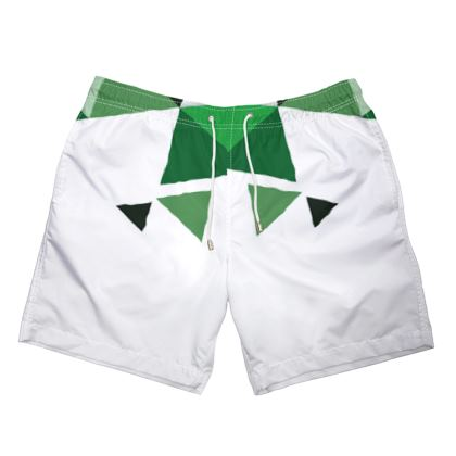 Mens Swimming Shorts - Geometric Triangles Green