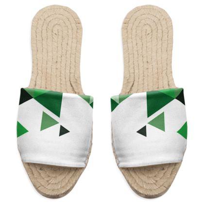 Sandal Espadrilles - Geometric Triangles Green