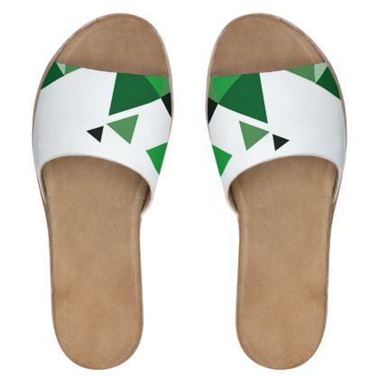Womens Leather Sliders - Geometric Triangles Green