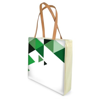 Beach Bag - Geometric Triangles Green
