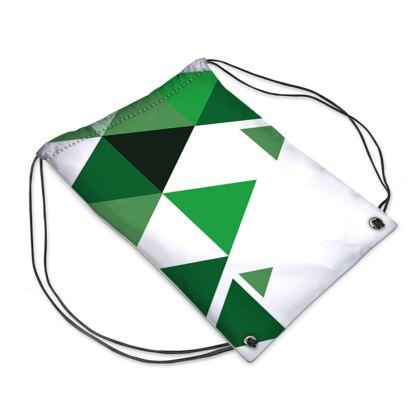 Swim Bag - Geometric Triangles Green
