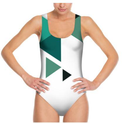 Swimsuit - Geometric Triangles Jade