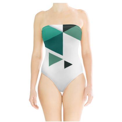 Strapless Swimsuit - Geometric Triangles Jade