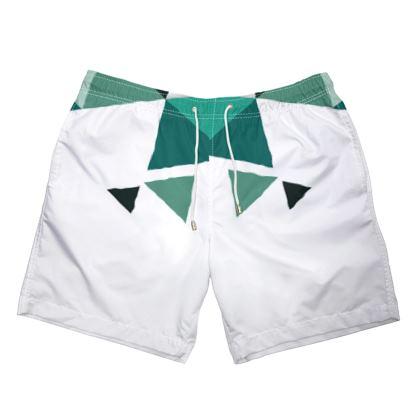 Mens Swimming Shorts - Geometric Triangles Jade