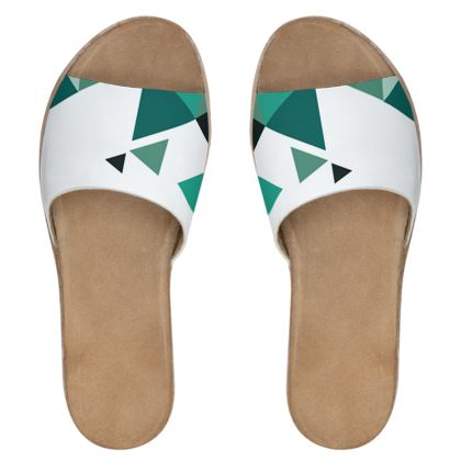Womens Leather Sliders - Geometric Triangles Jade