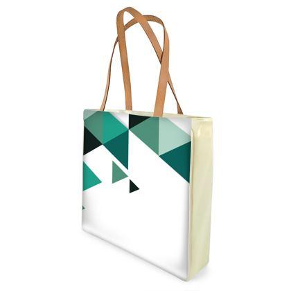 Beach Bag - Geometric Triangles Jade