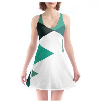 Beach Dress - Geometric Triangles Jade