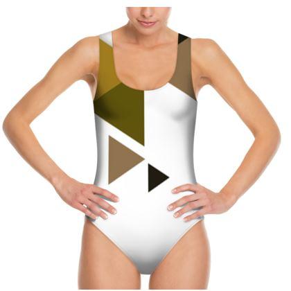 Swimsuit - Geometric Triangles Orange