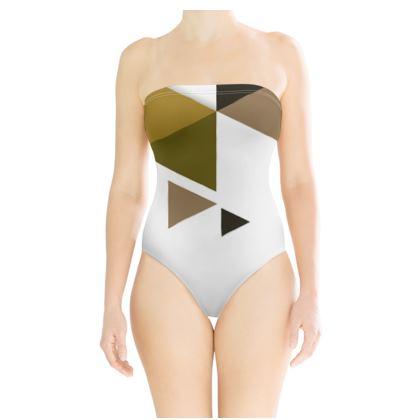 Strapless Swimsuit - Geometric Triangles Orange