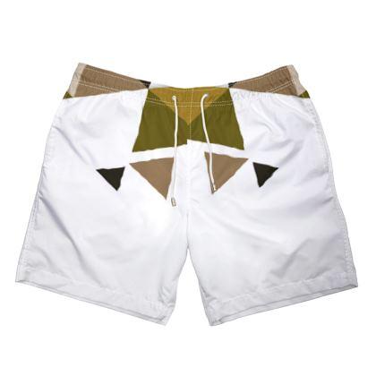 Mens Swimming Shorts - Geometric Triangles Orange