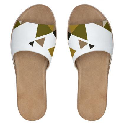 Womens Leather Sliders - Geometric Triangles Orange