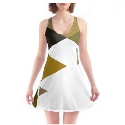 Beach Dress - Geometric Triangles Orange
