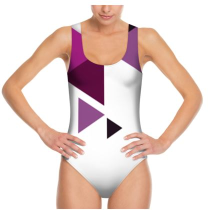 Swimsuit - Geometric Triangles Pink
