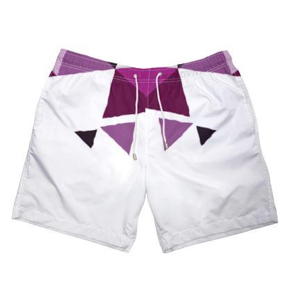 Mens Swimming Shorts - Geometric Triangles Pink