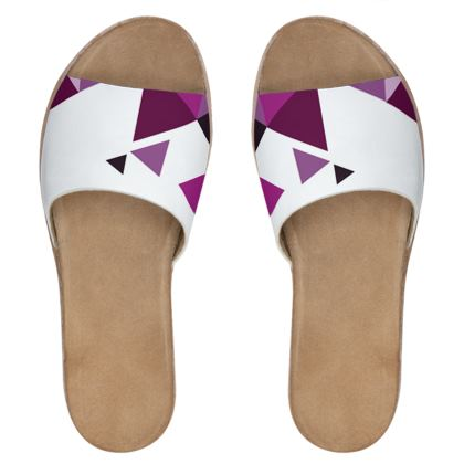 Womens Leather Sliders - Geometric Triangles Pink