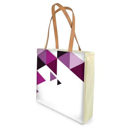 Beach Bag - Geometric Triangles Pink