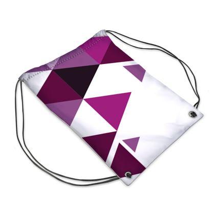 Swim Bag - Geometric Triangles Pink