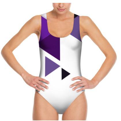 Swimsuit - Geometric Triangles Purple